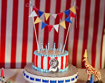 Circus theme bunting Cake Topper - primary colors