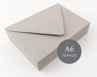 "A6 Euro Flap Envelopes - 4 3/4"" x 6 1/2"", Mailers & Mailing Envelopes, Wedding Envelopes, Grey, Gray, sold in sets of 10"
