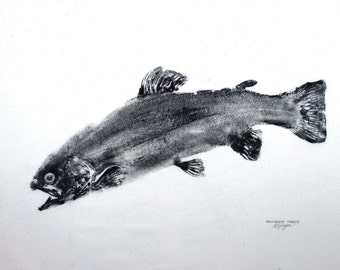GYOTAKU fish Rubbing Rainbow Trout 8.5 X 11 quality Art Print Cottage Decor Fly Fishing by artist Barry Singer