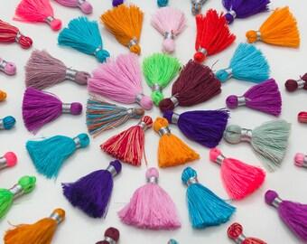 Mini  Tassels, Short  Tassels, Bracelet Tassels, 4pcs+,   1.5 inch, Jewelry Tassels, Mixed Colors -TA4