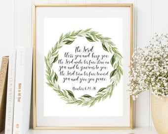 The Lord Bless You and Keep You Bible verse art Numbers 6:24-26 Scripture wall art printable Laurel wreath print Christian quote printable