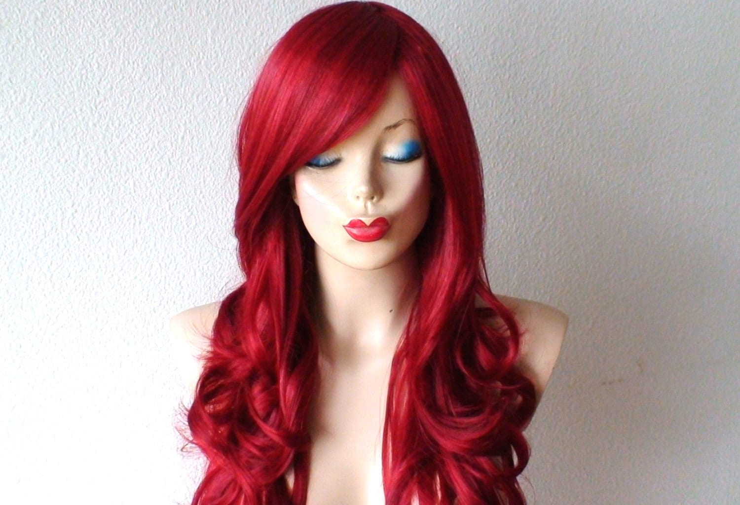 Wine red wig. Long curly hairstyle wig. Durable Heat friendly