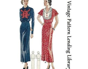 1935 Ladies Dress With Interesting Vestee Options - Reproduction Sewing Pattern #T1645