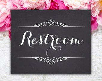 Restroom Sign Chalkboard Printable Wedding Sign Party Rustic Wedding Reception Table Signs, Instant Download (#N 033)