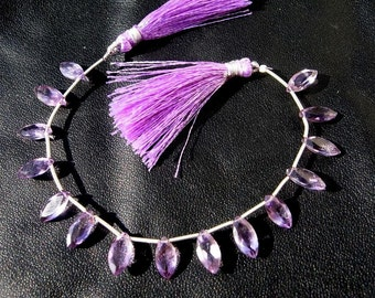 7 Inches - AAA Amethyst Faceted Marquise Briolette Size -- 12x6mm approx