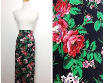 Vintage Skirt/ Black Red Floral Pencil Skirt/ Small Medium