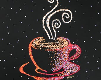 "Dot Pointillism, Acrylic, Coffee Cup, 12"" square, black canvas paper. dot art, pointillism art, original dot pointillism art"