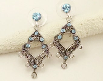 Earring findings, Earring components,33x16 Silver filigree and crystal teardrops, Silver plated drops, Blue crystal drops, SS215, Ships USA