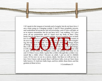 Wall Art 1 Corinthians 13  Love Scripture print - Christian Art