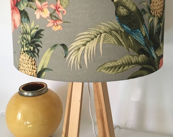Lampshade with Parrots and tropical leaves, tropical decor, Made in Australia