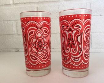 2 Vintage Red, Black & White Bandana Motif Glass Tumblers