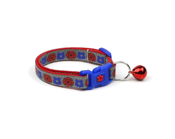 Police & Firefighter Collar - Fire and Police Badges on Slate - Kitten or Large Size - Breakaway Cat Collar