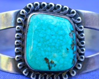 Turquoise and Silver Native American Bracelet