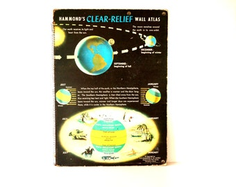 Vintage Hammond's Clear-Relief Wall Atlas, Very Large, Poster Size (c.1960s) - Home Decor, Maps, Altered Art, and more