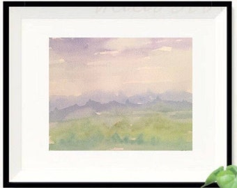 Mountain landscape, Abstract Watercolor Mountain, landscape Painting, Abstract Print, Original nursery artwork, Blue and green painting