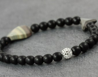 Crystal Pave Bracelet Matte Black Silver Leaf Jasper Stretch Bracelet Elastic Beaded Bracelet Silver Arrow Jewelry Gift for Her Under 25