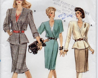 Loose Fitting Straight Mock Wrap Dress Shoulder Pads Low Armholes Partially Elastic Waist Size 8 10 12 Sewing Pattern 1988 Vogue 7170