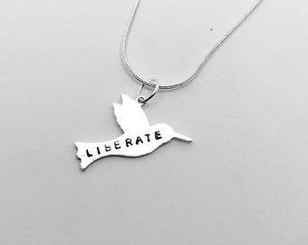 Liberate- Bird Necklace - Gift- Ethical- Vegan- Eco friendly- Recycled- plant based- jewellery- vegan jewelry-personalised