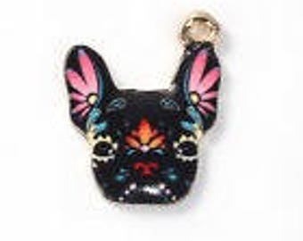 Enameled dog pendant 19 x 15 mm