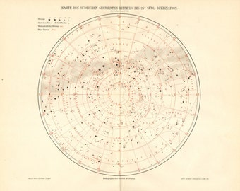 1896 Star Chart, Southern Sky, Star Constellations of the Southern Hemisphere Original Antique Map