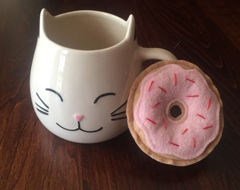 Donut Cat Toy with Organic Catnip - Vanilla with Cherry Frosting and Sprinkles