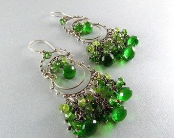 15 Off Green Garnet With Peridot, Green Apatite And Green Quartz Chandelier Earrings