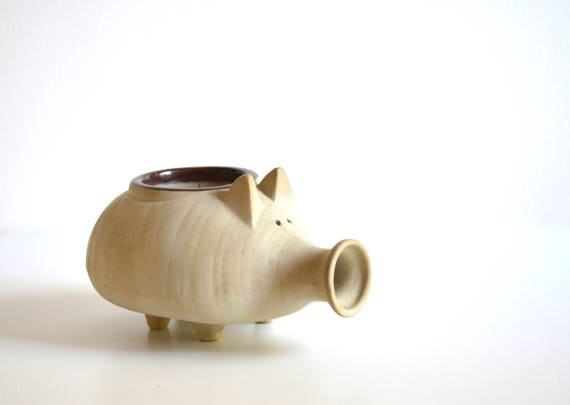 Mid Century Ceramic Pig Candle