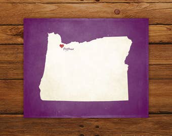 Customized Printable Oregon State Map Art - DIGITAL FILE - Aged-Look Canvas Wall Art Print