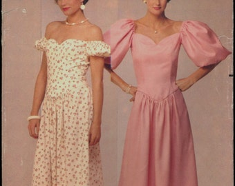 1980s Size 12 14 Bust 34 36 Kathryn Conover Off Shoulder Princes Seam Dress Butterick 6408 Sewing Pattern Vintage Retro Prom 80s