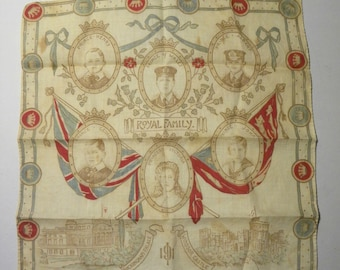 Royal Family handkerchief. 1910-1920.  RARE. Antique/Fashion/Victorian **ON SALE**