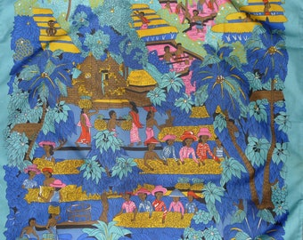 "Nice vintage souvenir scarf from BALI -  29""  x  29"""