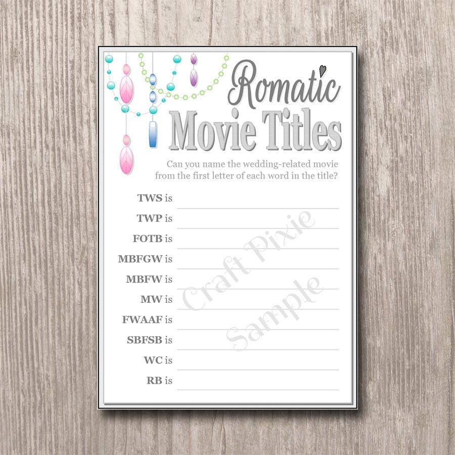 Romantic Movie Titles Quiz Chandelier Instant PDF Download
