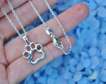 Paw Print Silhoutte Jewelry Sterling Silver .925 Necklace Chain Charm Pendant Benefits Animal Rescue Dog Cat Pet Lover Ladies Brithday Gift