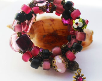 Pink and Black Memory Wire Bracelet