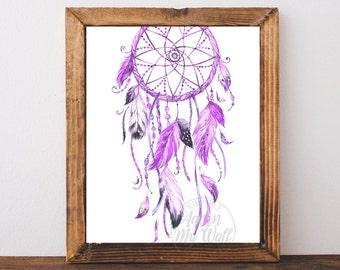 Purple Dream catcher, dreamcatcher print, dream catcher art, boho dream catcher, Instant download, tribal, Watercolor