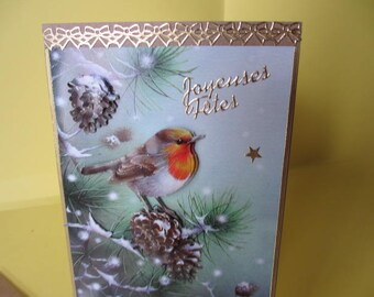 Card 3D (embossed) Robin on a branch stickers gold