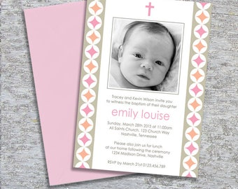 Baptism or Christening Invitation – Photo Printable Personalized – Modern Circles Girl (Digital File)