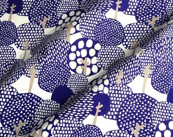 Japanese fabric, blue trees pattern, white, cotton 112 x 50 (137)