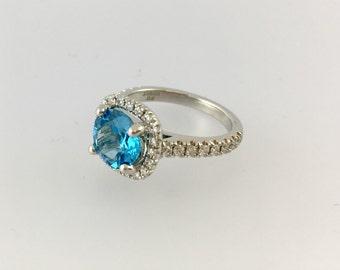 Platinum Diamond Blue Topaz Engagement Ring Halo Set