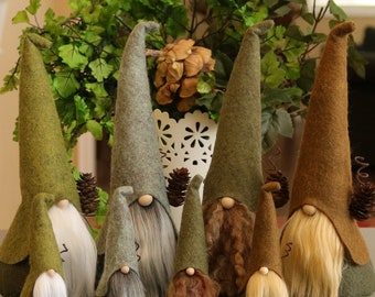 Nordic Gnomes Set Large and Mini, HADMAR, Wizards, Nordic Gnome, Elf, Elves, Scandinavian Gnomes, Nisse, Tomte, Woodland, Gnome Home