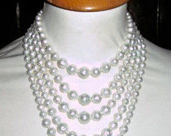 Desirable Multi Strand Faux Baroque Pearl Necklace by Japan