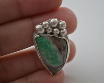 Free form Variscite ring, Green stone, Granulation silver ring, Natural green stone ring, unique green ring, paolanaviajewelry size 8