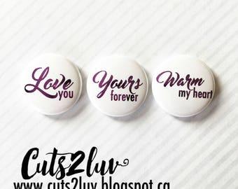 "3 buttons 1 ""Warm my heart metallic purple"