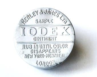 Vintage Iodex Black Salve Medicine Tin Embossed Aluminum