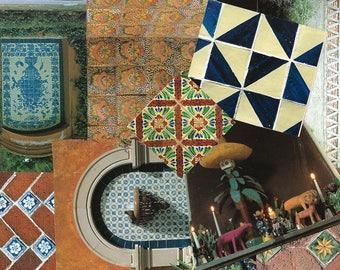 Mexican Tile Clip Art, Clipart, Collage Paper, Scrap Paper Pack, Paper Ephemera for Paper Arts, Collage, Scrapbooking, Decoupage PSS 3479