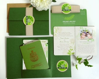 JAMIE Boarding Pass and Passport Destination Wedding Invitation Suite Custom, Green Leaves, No Flowers, Airline Plane Ticket, Booklet Invite