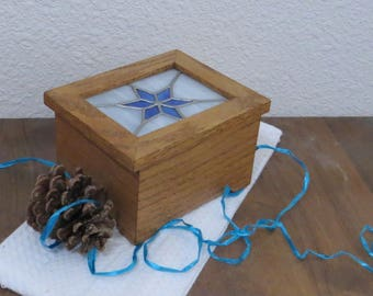 Music Box - Handmade Wood and Stained Glass - White Christmas