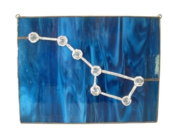 Star Constellation Stained Glass Panel Window Big Dipper Blue Handmade OOAK