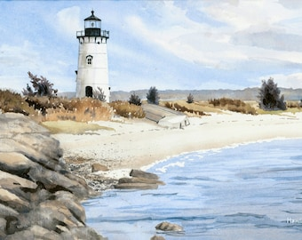 Edgartown Lighthouse - Open edition print of an original watercolor (fits 11x14 frame)