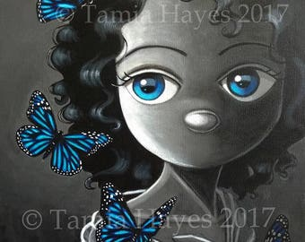 PRINT Acrylic Painting Butterflies Big Eye Lowbrow Art Blue Black White Chicasol Tamia